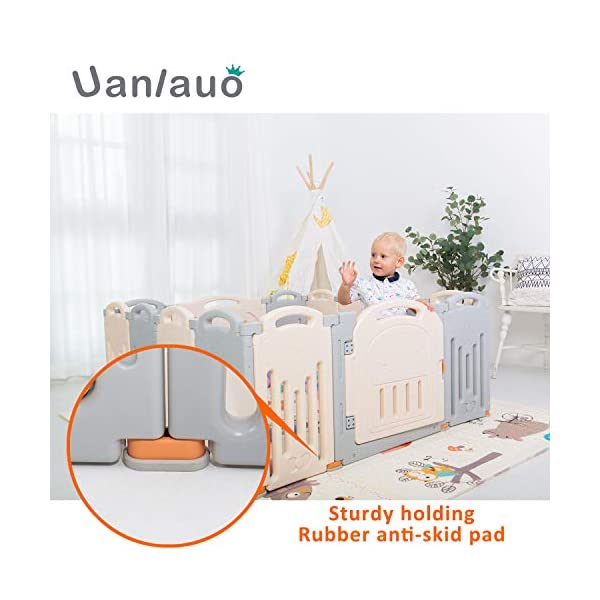 Foldable Baby Playpen Kids Activity Centre Safety Play Yard Home Indoor Outdoor Grey Uanlauo 🥉FOLDABLE & PORTABLE: Easy to storage and can be fold outdoor/indoor; Sturdy holding Rubber anti-slip pad so the yard won't go sliding around. 🥉MOM'S LIFESAVER: Keep baby safe in the baby gate there play centre when mom/dad needs to cook, clean up, do some housework, etc. 🥉Safty&Durable:BPA free Give your baby the closest contact, HDPE Material is more durable. 5