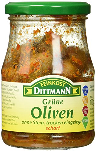 Feinkost Dittmann Grüne Oliven ohne Stein, trocken eingelegt, scharf, 3er Pack (3 x 170 g)