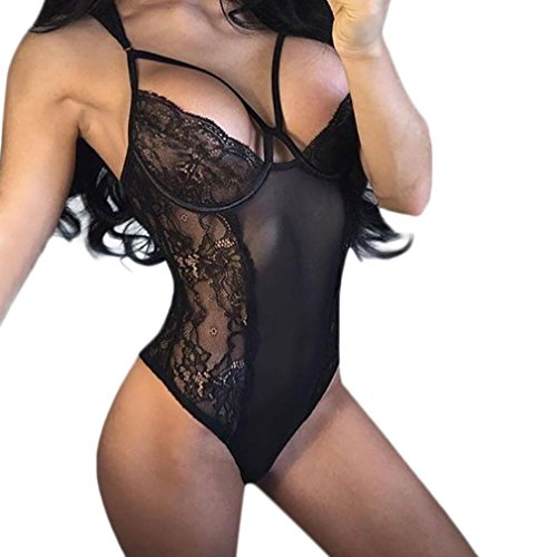 Sexy Dessous FORH Damen Frauen Reizvolle Unterwäsche Spitze Erotic lingerie Teddy Bodysuit Reizwäsche Übergröße elastische Nachtwäsche Clubwear Nachthemd Overall (Schwarz, XXL) (Schwarz Sexy Bodysuit Teddy)