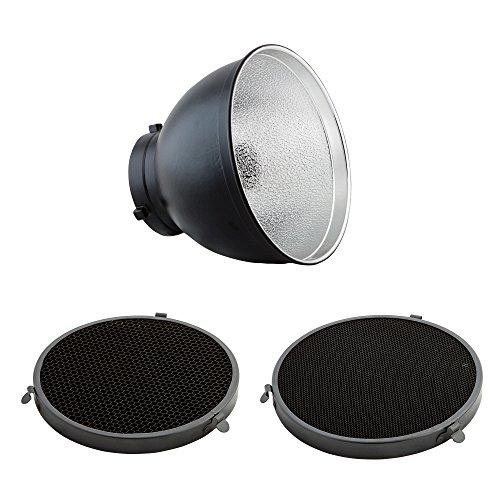PhotoSEL FRS558BH Bol Réflecteur Standard de 55 Degrés avec 2 Grilles Nid d'Abeille Flash Studio...