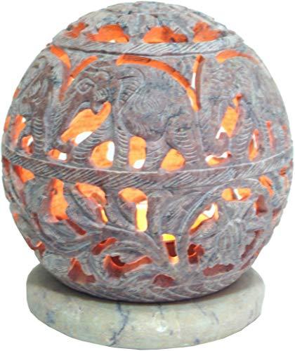 Speckstein Duft (Guru-Shop Indisches Duft Potpourri Behälter aus Speckstein, Teelicht - Kugel Elefanten, Beige, 9,5x9x9 cm, Duftlampen & Öllampen)