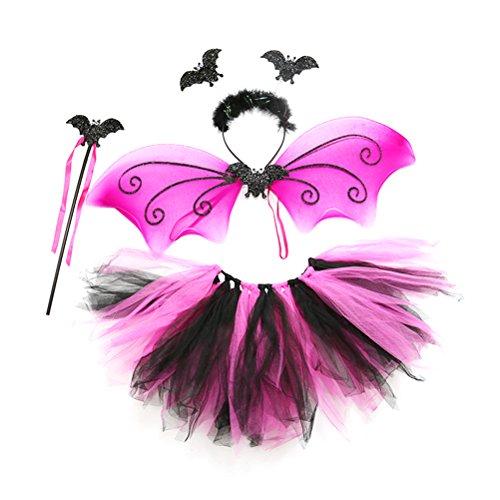 Bestoyard set costumi pipistrello bambina per carnevale con ali bacchetta cerchietto gonna tutu in nero e rosa da bambini 3-8 anni