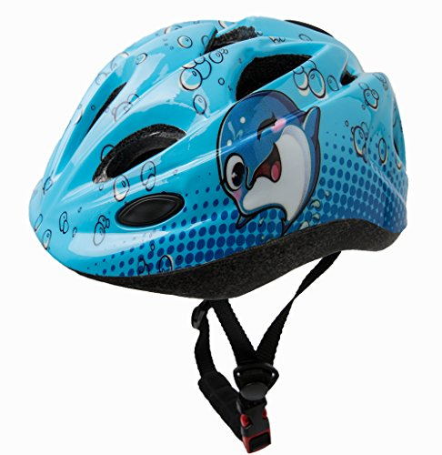 Kinder- Jugend helme Toddler Kids Child Children Sports Outdoor Cycling Skating Scooter Gear Hard Safety Helmet Head Protection Adjustable Soft Pad Waring Tail Light Age 3-5 5-8 8-10 (Blue Dolphin) (Pads Armour Youth Under Knee)