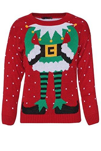 *Fast Fashion Damen Pullovern Promi Inspiriert Elfe Drucken Gestrickten Weihnachts*