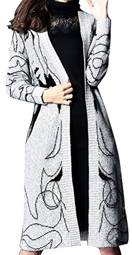 URqueen Women's Casual Grey Loose Long Kintted Sweater Cardigan Outwear Coat