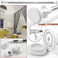 Tubo Safekom, telescópico, recto, extensible; para cortinas de baño, armario, puertas, ventanas, 110-200cm