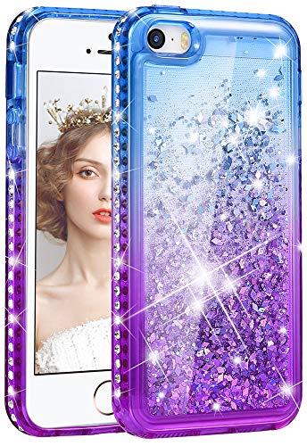 wlooo Handyhülle iPhone SE Glitzer Hülle, Kristall Diamant Flüssig Case Funkeln Fließend Glitter Silikon TPU Cover Luxury Mode Gradient Bling Schutzhülle für iPhone SE/5/5S (Blau&Lila) (Case Diamant 5 Bling Iphone)