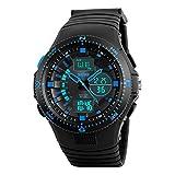Amstt Kinder Jungen Chronograph Digital Uhr Sportuhren Wasserdicht Led Armbanduhr Blau Schwarz 1198
