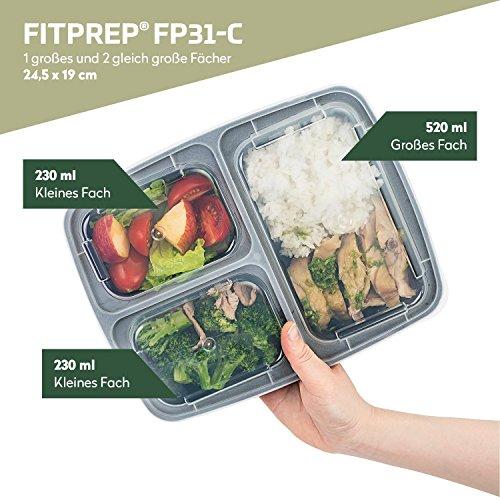 FITPREP® - DAS ORIGINAL [10er Pack] 3-Fach Meal Prep Container | stabil, verstärkt, qualitativ hochwertig, Zertifiziert | Für Meal Prep empfohlen | Modell: FP31-C - 2