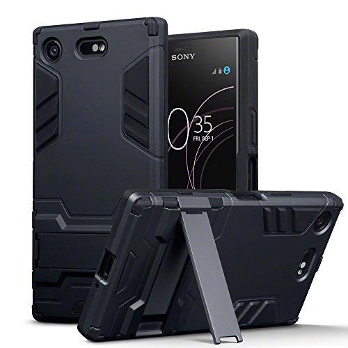 TERRAPIN, Kompatibel mit Sony Xperia XZ1 Compact Hülle, Silikon + Polycarbonat Tasche mit Standfunktion - Schwarz EINWEG