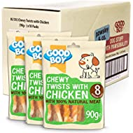 Chicken & Rawhide Dog Treats - Good Boy Chewy Twists with Chicken - Pack of 10 -  90ge Natural Dog Treats - Made with 100% Natural Chicken Breast Meat - No Artificial Flavouring