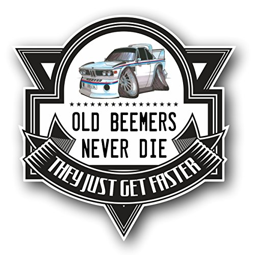 koolart-cartoon-old-beemers-never-die-retro-bmw-3-litre-csl-vinyl-car-sticker-decal-badge-100x100mm-