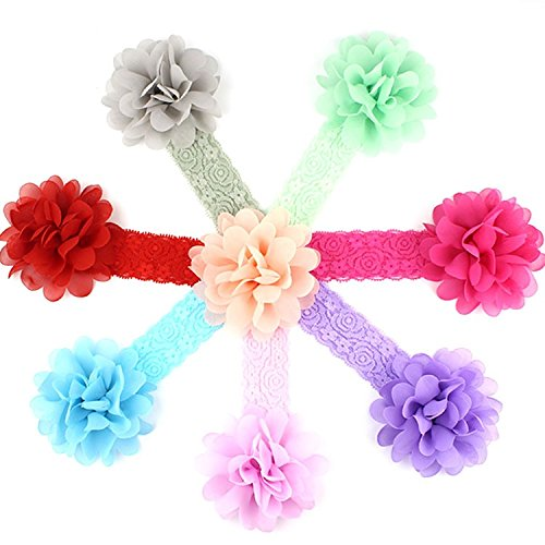 Skudgear Fabric Floral Baby Multicolour Headbands Flower - Pack of 8