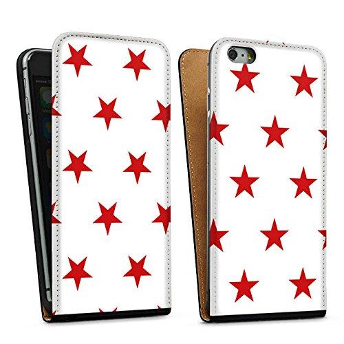 Apple iPhone 5s Housse Étui Protection Coque Étoile Rouge blanc Motif Sac Downflip noir