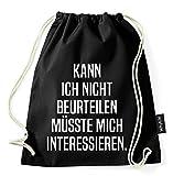 Über 60 Sprüche & Designs auswählbar / WhyKiki Turnbeutel mit Spruch / Beutel: Schwarz / Rucksack / Jutebeutel / Sportbeutel / Hipster , Bag:Beurteilen