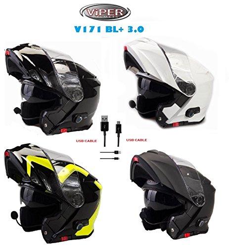 Viper nuovo caschi moto v171 bl+ moto casco bluetooth flip up touring casco modulare con sottocasco (m, nero opaco)