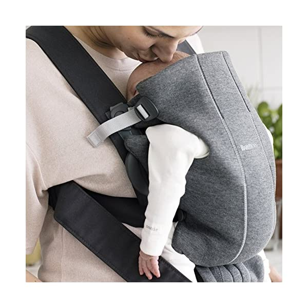 BABYBJÖRN Baby Carrier Mini, 3D Jersey,  Dark Grey Baby Bjorn Perfect first baby carrier for a new-born Small and easy to use 3D Jersey - Our newest and softest material is as snug as your comfiest T-shirt 2
