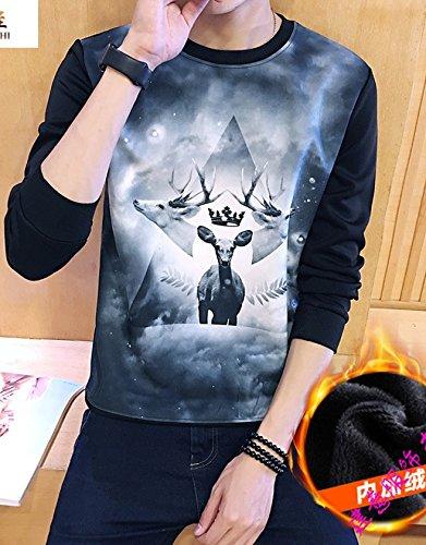 YEbao 3D Deer Pull Cachemire L Impression Thermique Et À Cultiver Les Jeunes Étudiants Séance Grand T Shirt À Manches Longues Code À