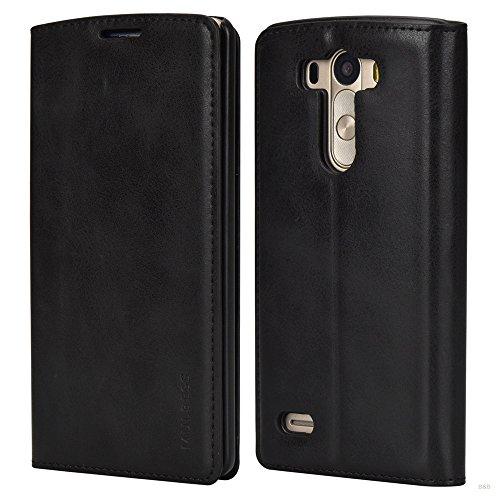 Mulbess LG G3 Hülle, Leder Flip Tasche mit Wallet Case für LG G3 Handy Tasche Cover Etui, Schwarz