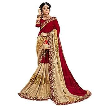 Craftsvilla Women's Georgette Resham Embroidered Saree with Blouse Piece(MCRAF73579608230_Red_Free Size)