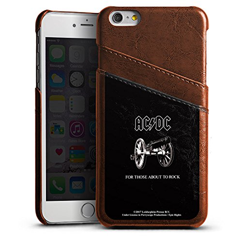 Apple iPhone 6 Plus Lederhülle maroon Leder Case Leder Handyhülle Acdc For Those About To Rock Rock