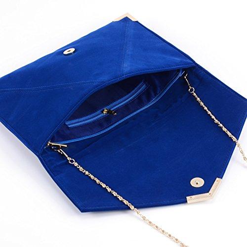 Anladia - Cartera de Mano para Mujer Bolso con Cadenas de Fiesta Boda Salidas Bolso Estilo Sobre Color Azul Rojo Negro Fucsia (Azul)