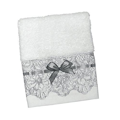Gästehandtuch, 30x 50cm, aus 100% Baumwolle, Weiß, Seiftuch, Serie Dentelle Mathilde M