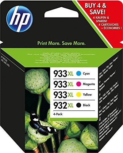 HP 932-933 XL Combo Pack C2P42AE Cartucce Originali Monocromatico per Stampanti a Getto d'Inchiostro, Compatibili con OfficeJet 6100, 6600, 6700, 7110, 7510, 7610, 7612, Ciano, Giallo e Magenta