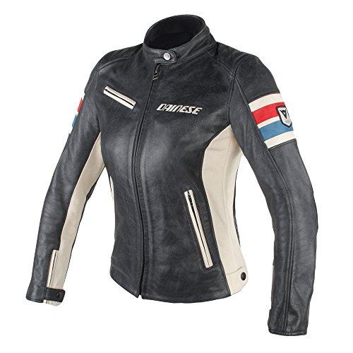 Dainese-lola d1 lady giacca da moto in pelle, nero/ice/rosso/blu, taglia 44