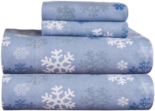 pointehaven Hohe Gewicht Gedruckt Flanell 100Prozent Baumwolle Blatt Set, Flanell, Snow Flakes, Queen -