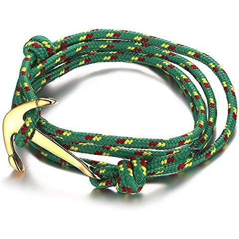 Vnox Bracciale Uomo dell'acciaio inossidabile delle donne di nylon verde corda intrecciata Maritime Anchor vichingo Wrap regolabile,Oro - 14k Oro Nautico Anchor