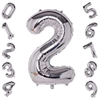 40 Inch Silver Large Number 2 Balloon Birthday Party Decorations Helium Foil Mylar Big Number Balloon Digital 2