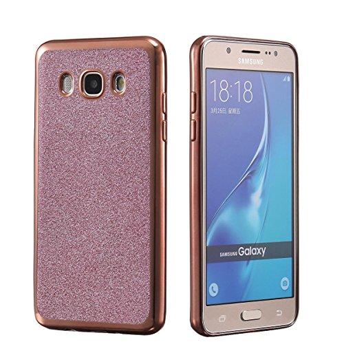 NWNK13® Coque arrière de protection souple en gel / TPU Ultra mince Flexible Avec paillettes Pour Samsung Galaxy J3 (2016), or rose brillant
