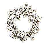 jycra Baumwolle Kranz, flauschige Baumwolle Boll Kranz Natürliche Pflanzen trockene Blumen Baumwolle Zweige Stiel Farmhouse Style Künstliche Kranz Decor Tür vorne für, Wand, Flur, Diele etc.