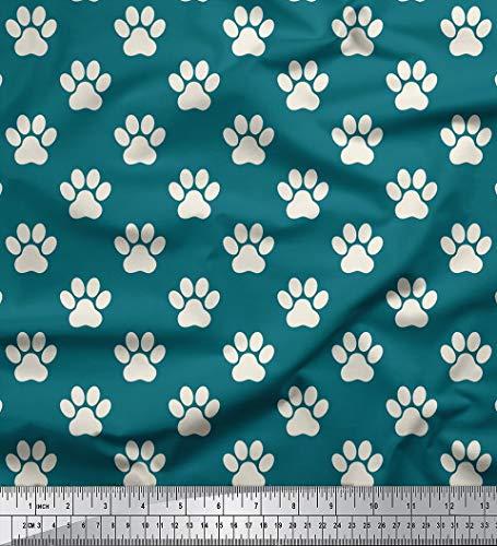 Dog FuSSdruck 58 Zoll Breite Baumwolle Popeline Deocrative Durch Das Meter - Teal Green ()