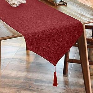 LUOLUO Leinenoptik Tischläufer Fringe Tischläufer Tischdecke Elegante Heimtextilien für Den Innen- und Außenbereich