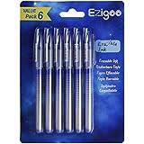 Bolígrafo borrable Ezigoo, Tinta gel azul, Clip de metal, Punta de 0,5mm (Pack de 6)