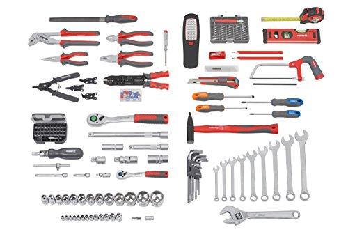 Meister Werkzeugtrolley 156-teilig ✓ Werkzeug-Set ✓ Mit Rollen ✓ Teleskophandgriff | Profi Werkzeugkoffer befüllt | Werkzeugkiste fahrbar auf Rollen | Werkzeugbox komplett mit Werkzeug | 8971440 - 3