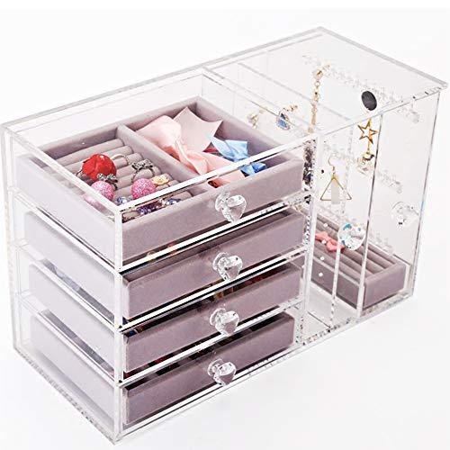 4ea7b6f00475 YANGJUN-Joyería Caja Almacenaje Hembra Sencillo Acrílico Accesorios Arete  Clasificar Soporte De Exhibición (Color