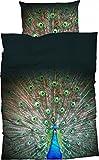 Casatex Mako-Satin Bettwäsche Peacock 155x220 cm + 80x80 cm