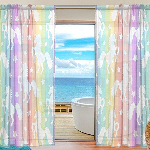 yibaihe Fenster Vorhänge, Gardinen Platten Fenster Behandlung Set Voile Drapes Tüll Vorhänge...