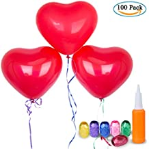 Corazón Globos Decoración, Diealles 100pcs Rojo en Forma de Corazón Globos con Bomba y 6 Cinta para Fiesta Cumpleaños Boda Colorido, día, Regalo de San Valentín Amor y Decoración