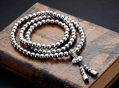 Penixon Selbstverteidigung 108 Buddha Perlen Halskette Ketten (Voll (Perle Halskette)