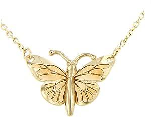 forme di Lucchetta per Donna - Collana in Vero Oro Giallo con Farfalla Blu o Glitter o Ambra - 45cm - Made in Italy Certificata