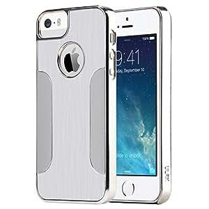 Coque iPhone 5S, ULAK iPhone 5 Coque Rigide Hybride avec dos en Métal brossé PC pour iPhone 5S/5(Argent)