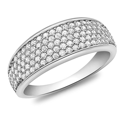 Carissima Gold 9ct White Gold Cubic Zirconia Pave Set Tapered Ring - Size P