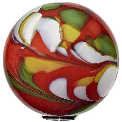 Cristalica Gartenkugel Kugel klein Rosenkugel Glas Mundgeblasen Rot 15 cm mit Stab