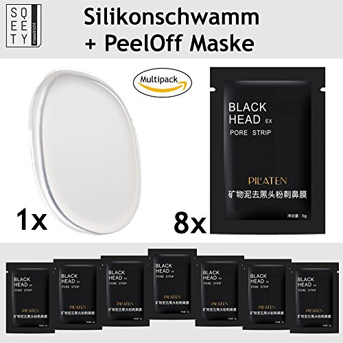 Original BLACK HEAD Gesichtsmaske 8 Stück Inkl pureQ Silikon Beautyschwamm I Mitesser entfernende peel-off Maske im Set mit Silikonschwamm I Exklusiv von sQeety