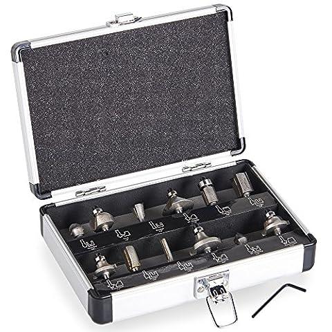 VonHaus 12pièces en carbure de tungstène à pointe routeur Bit Lot de 12pièces, 6,35mm 1/10,2cm Tige) Fixation universelle pour tous les ¼