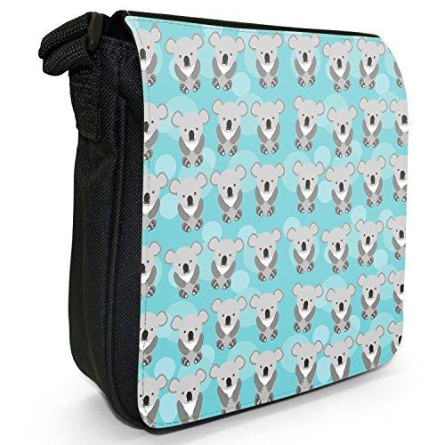 Tenero animale Unicorno Pattern Small Nero Tela Borsa a tracolla, taglia S Rows Grey Cuddly Koala Bears